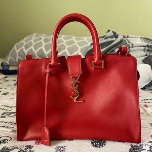 SAINT LAURENT CABAS RED TOTE BAG